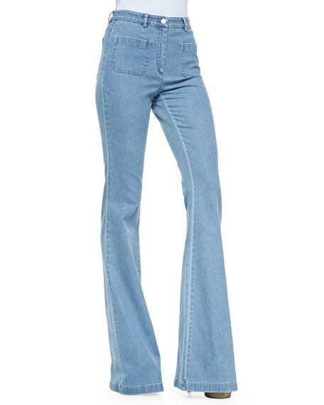 Washed Denim Bell-Bottom Jeans, Cornflower