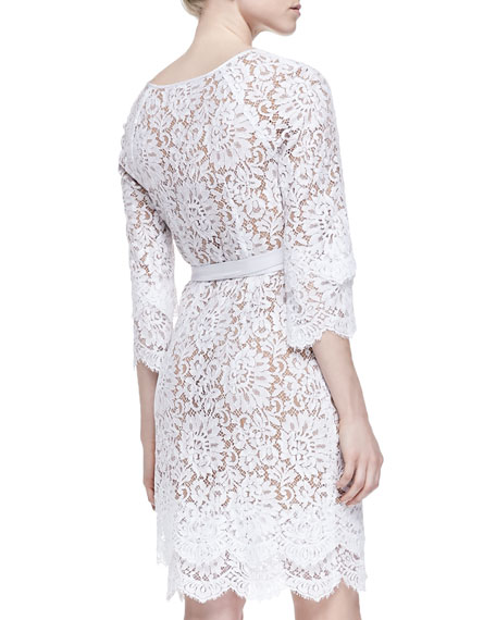 f474c191fdf Michael Kors Tie-Waist Scalloped Lace Dress