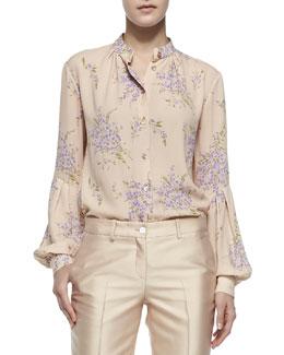 Bouquet-Print Georgette Shirt