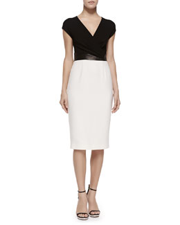 Cross-Front Plunge Contrast Sheath Dress