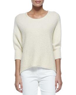 Dolman-Sleeve Crewneck Sweater, Vanilla