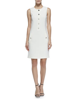 Button-Front Shift Dress, Ivory