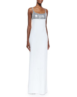 Sequined Tank Gown, Silver/White