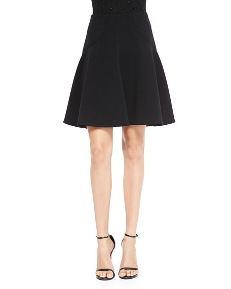 Silk-Trim A-Line Skirt, Black