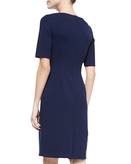 Claire Boat-Neck Dress, Navy