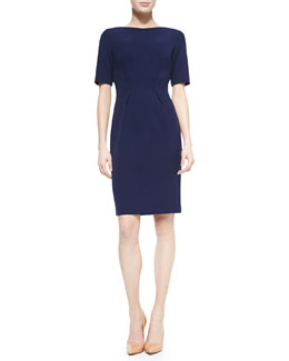 Boat-Neck Dress with Nipped Waist