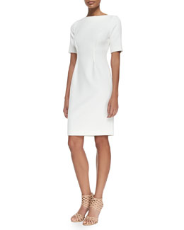 Half-Sleeve Fitted Dress, Ivory