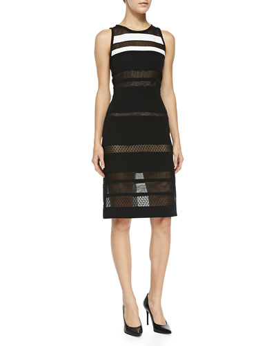 Sheer Overlay Striped Sheath Dress