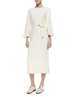 Flared-Sleeve Belted Dress, Light Beige