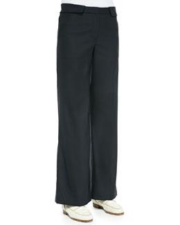 Wide-Leg Flat-Front Pants