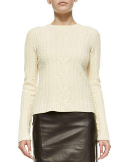 Wool/Cashmere Cable-Knit Sweater, Dark Cream