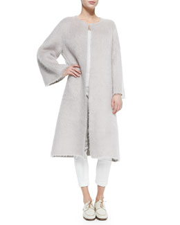 Mohair Robe-Style Long Coat, Dusty Pink