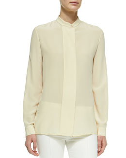 Washed Silk Mock-Neck Blouse