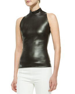 Sleeveless Mock-Neck Leather Top