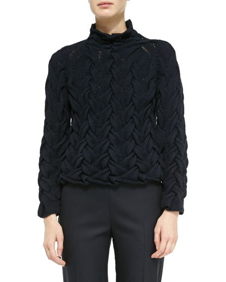 Long-Sleeve Chunky Cable-Knit Cashmere Sweater