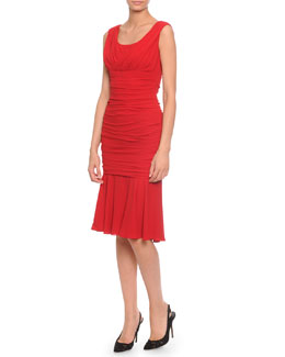 Surplice Crepe Ruched Dress