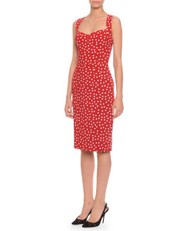 Dolce & Gabbana Sweetheart-Neck Polka Dot Dress, Red/White