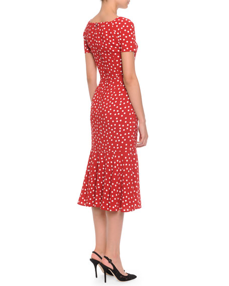 Square-Neck Midi Flounce Dress, Red/White