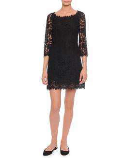 Dolce & Gabbana Soft-Square-Neck A-Line Lace Dress, Black