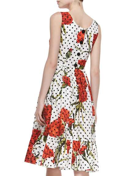 de2c543da6a Dolce   Gabbana Tiered Floral Polka-Dot Cotton Dress
