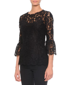 Floral-Lace Bell-Cuff Top, Black