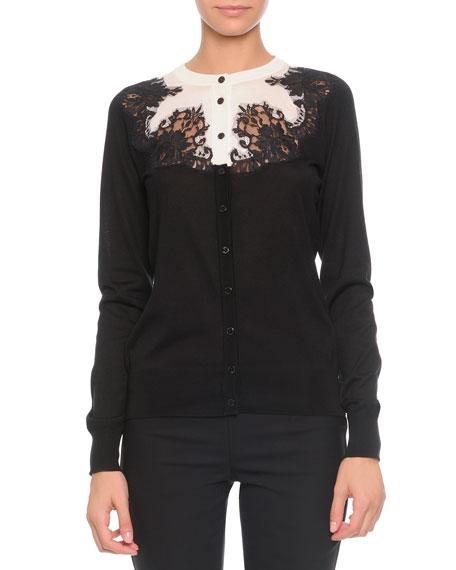 Bicolor Lace-Applique Silk Cardigan Sweater