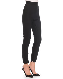 High-Waist Stretch-Wool Pants, Black