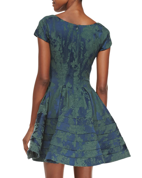 Scoop-Neck Floral-Brocade Party Dress, Eton Blue