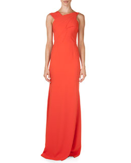 Parham Asymmetric Seamed Stretch-Crepe Gown