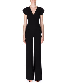 Verona Double-Crepe Cutout-Back Jumpsuit, Black