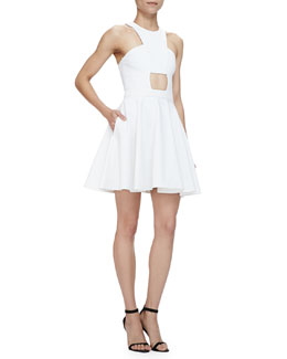 Halter-Neck Dress with Cutout Front