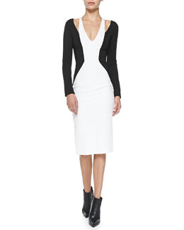 Cold-Shoulder Colorblock Jersey Dress, Black/White