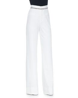 Oscar Flat-Front Wide-Leg Jersey Pants, White