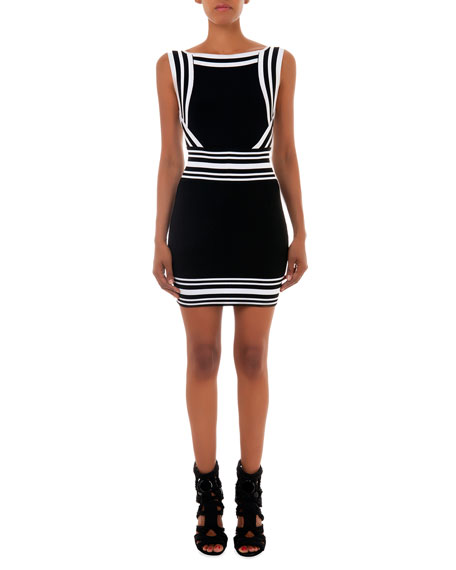 Square-Neck Stripe-Trim Knit Dress