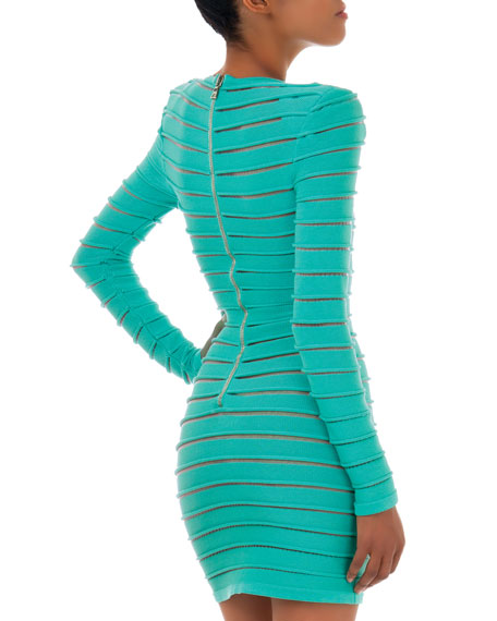 Long-Sleeve Sheer Stretch Paneled Dress