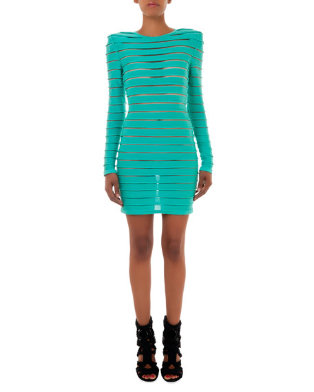Long-Sleeve Sheer Stretch Paneled Dress