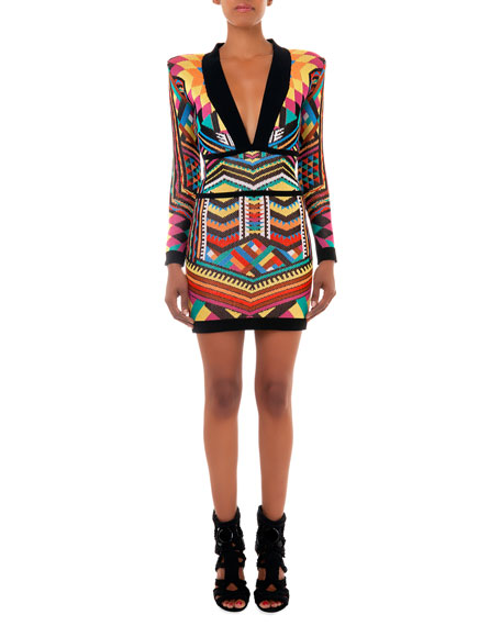 Geometric Printed Knit Dress with Plunging Neckline