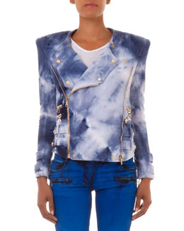 Tie-Dye Knit Moto Jacket, Blue/White