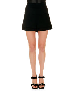Banded-Waist A-Line Shorts