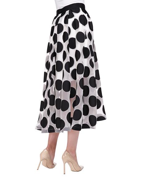 Embroidered Mesh Polka-Dot Skirt