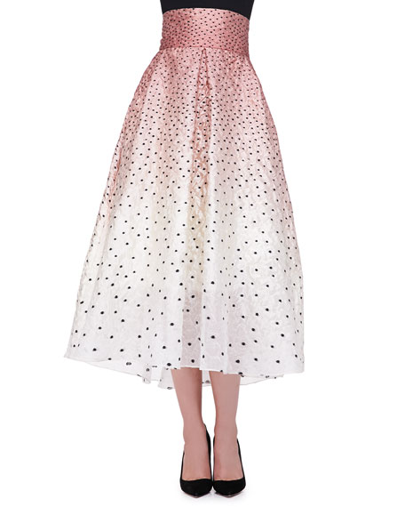 Ombre Embroidered Polka-Dot Skirt