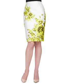 Floral-Print Sateen Pencil Skirt