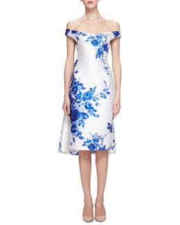 Off-The-Shoulder Floral-Print Watteau Dress