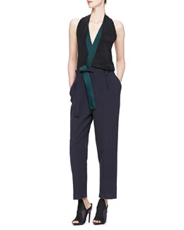 Draped Colorblock Jumpsuit w/Judo Belt