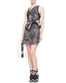 Mesh-Print Structured-Overlay Dress