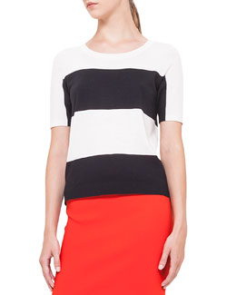 Short-Sleeve Bold-Striped Wool Sweater, Noir/Creme