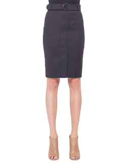 Belted Snap-Front Pencil Skirt, Noir