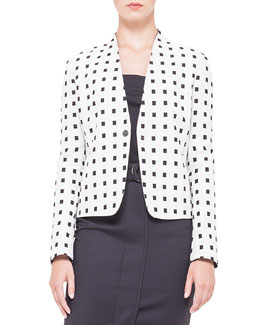 Square Dotted Jacquard Jacket, Creme/Noir