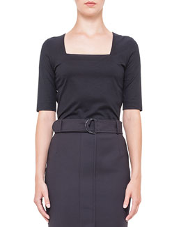 Square-Neck Half-Sleeve Jersey Top, Black