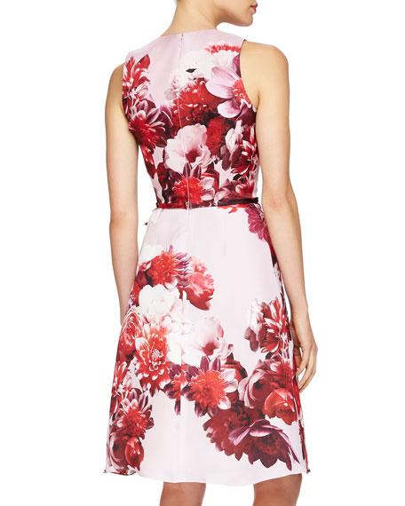 Floral-Print Tie-Waist Cocktail Dress